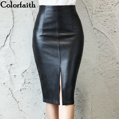 Women Leather Skirt Autumn Winter Pencil Skirt - Divn$ProV