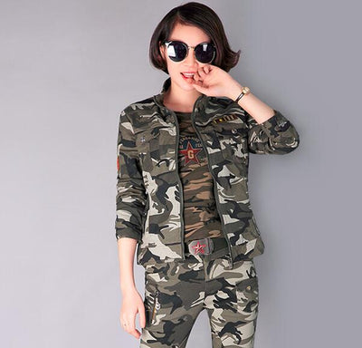 Women Green/Camouflage Coats Plus Sizes S-4XL - Divn$ProV