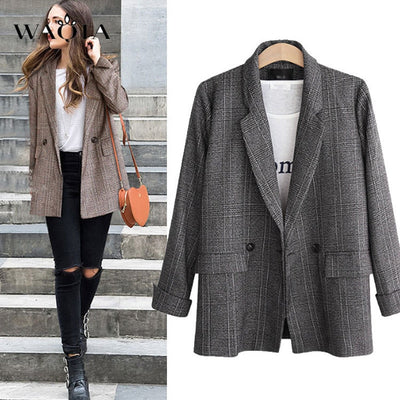 Plaid Plus Size Office Lady Casual Outerwear - Divn$ProV