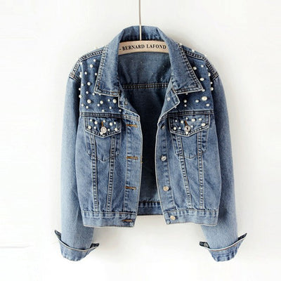Women Denim Fashion Beaded Bomber Jacket - Divn$ProV