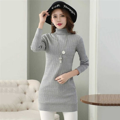 Winter Women Long Fleece Sweater Female Plus Thick Velvet Warm Underwear Sweater Ladies Slim Velvet Lining Knitted Pullovers E60 - Divn$ProV