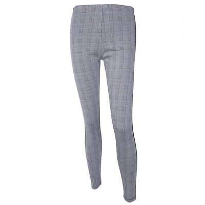 Women Plaid Elastic Waist Tweed Slant Elegant Trousers - Divn$ProV
