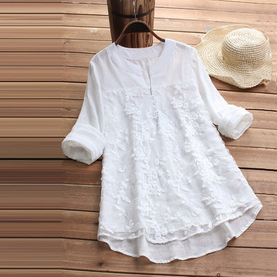 Women Linen Tops Casual Vintage Embroidery Loose Party Shirt - Divn$ProV
