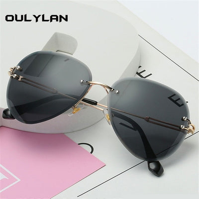Luxury Rimless Sunglasses Women Design Brand Sun Glasses Shades Cutting Lens UV400 - Divn$ProV