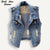 Plus Size Ripped Sleeveless Denim Jacket