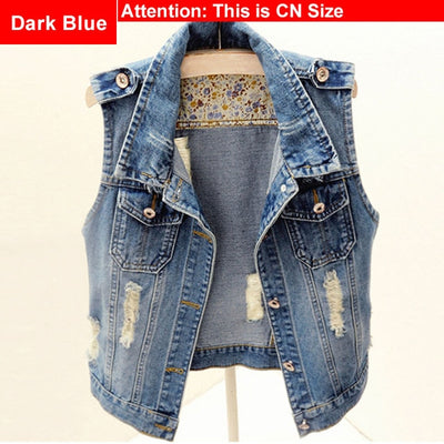 Plus Size Ripped Sleeveless Denim Jacket - Divn$ProV