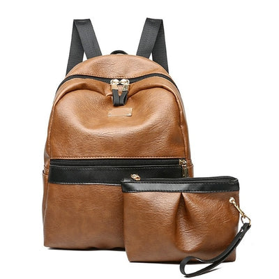 2pcs/Set Women-Girls Quality Leather Shoulder Mini Backpack - Divn$ProV