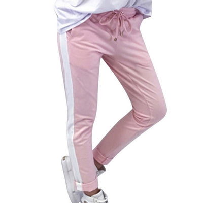 Women Drawstring Waist Side Striped Trim Pencil Sweatpants - Divn$ProV