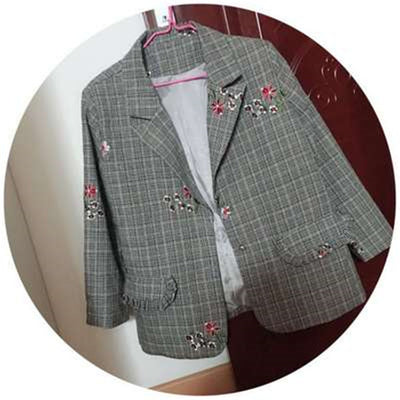 Casual Blazers womens  Plus size Fashion embroidery Plaid suit jacket - Divn$ProV
