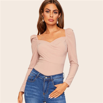 Women Zip Back Puff Sleeve Form Fitted Wrap Sweetheart Top - Divn$ProV