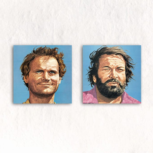Bud Spencer and Terence Hill - Glass Print-Set (2 Glass Prints each 20x20cm) - Bud Spencer®