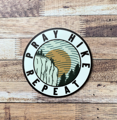 Pray Hike Repeat Circle Stickers