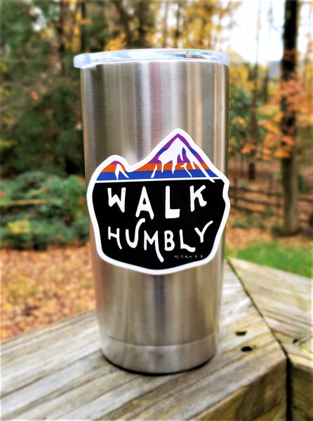 Walk Humbly Mountain Sticker - Micah 6:8 | Catholic Stickers for Water bottles, laptops, and cars