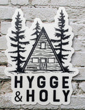 Hygge and Holy Wanderer Catholic die cut sticker