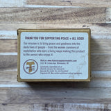 Moisturizing Honey Oatmeal Soap Bar packed individually in kraft packaging from Franciscan Peacemakers Hand made back of package