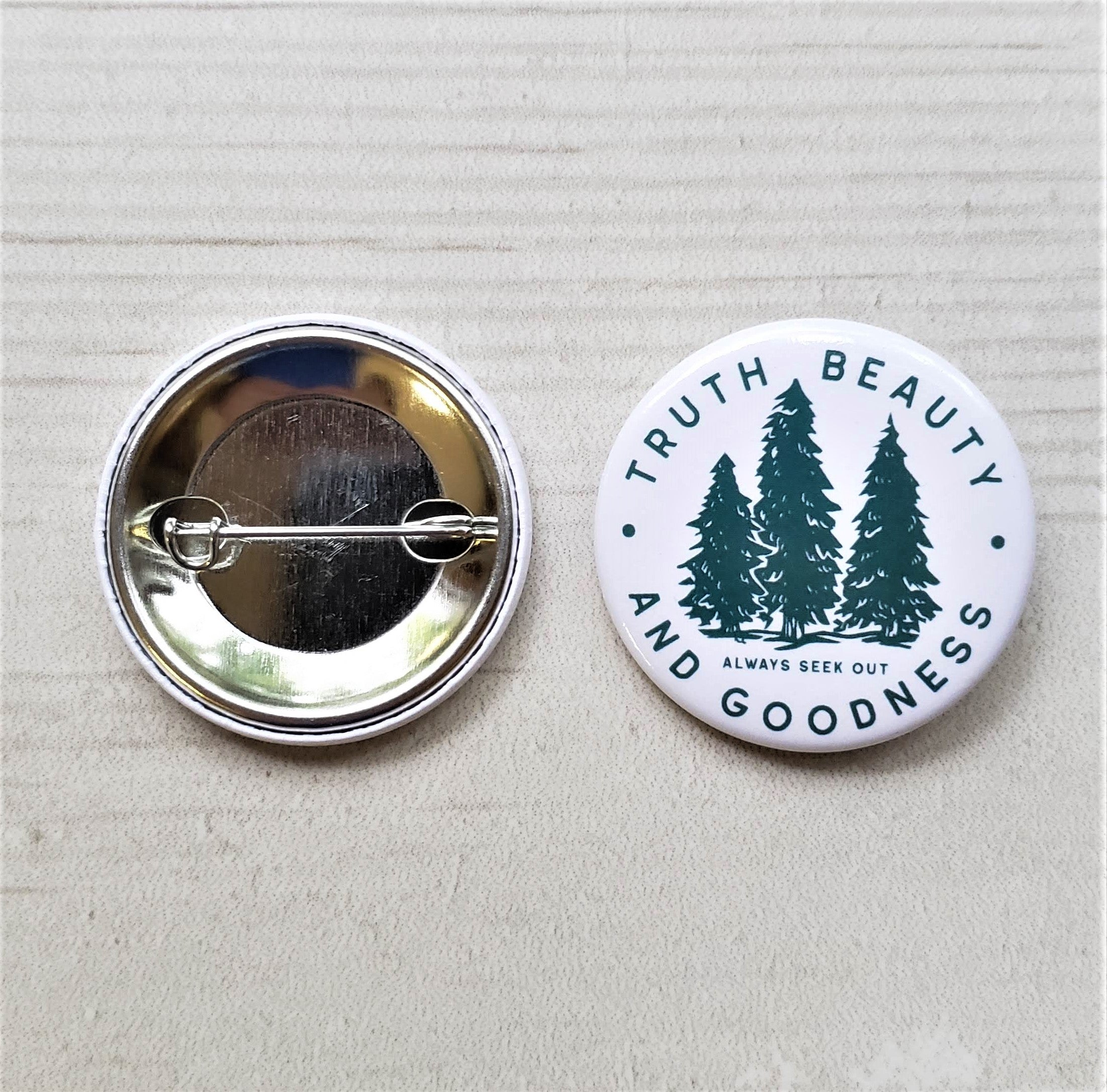 Truth Beauty and Goodness Buttons | Catholic Buttons - pin on apparel, hats, backpacks