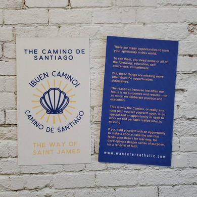 Camino de Santiago - Buen Camino - The Way of Saint James - Catholic pilgrimage Prayer Card