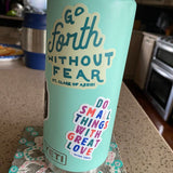 Go Forth Without Fear St Clare of Assisi Sticker on seafoam yeti water bottle