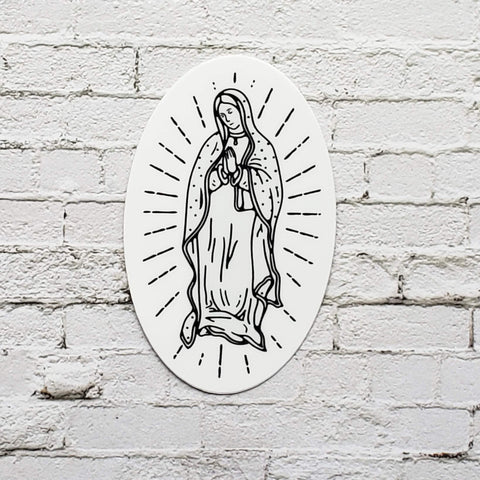 Our Lady of Guadalupe Stickers white