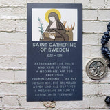 Saint Catherine of Sweden Patron Saint of Miscarriages  - back of card