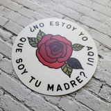 Our Lady of Guadalupe ¿No Estoy Yo Aqui Que Soy Tu Madre? 3x3 Sticker side view shot on white bricks