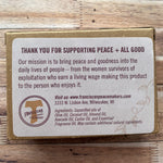 Franciscan Peacemaker's Lemon Verbena Bar Soap 4.5oz rear of package
