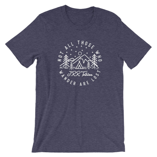 Not all Those who Wander are Lost - J.R.R. Tolkien ~ Short-Sleeve Unisex T-Shirt heather navy