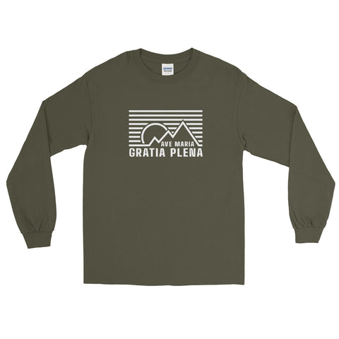 Ave Maria Gratia Plena Cotton Long Sleeve T Shirt Military Green