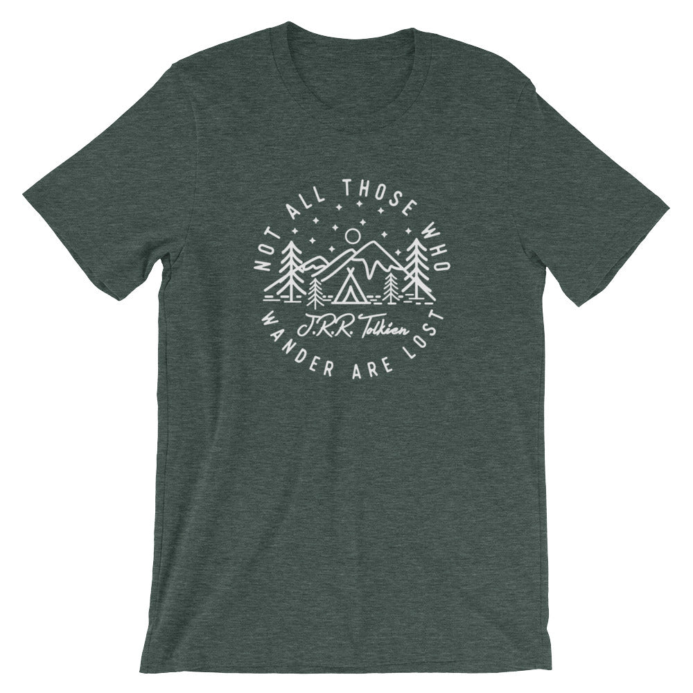 Not all Those who Wander are Lost - J.R.R. Tolkien ~ Short-Sleeve Unisex T-Shirt heather green