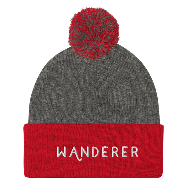 Wanderer Pom Pom Knit Cap | Beanies red grey