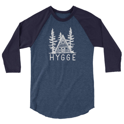 Hygge and Holy 3/4 sleeve raglan baseball style shirt heather denim navy