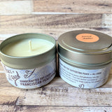 Sacred Amber Soy Wax Candle 4 oz two candles together one with lid off