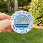 Stella Maris Pray for Us Sky Sun Sea Circle Sticker  3 x 3