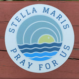 Stella Maris Pray for Us Sky Sun Sea Circle Sticker 3 x 3 against red backdrop