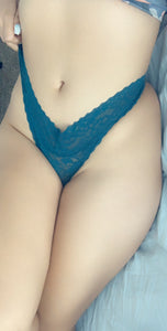 Used lace dark teal thong