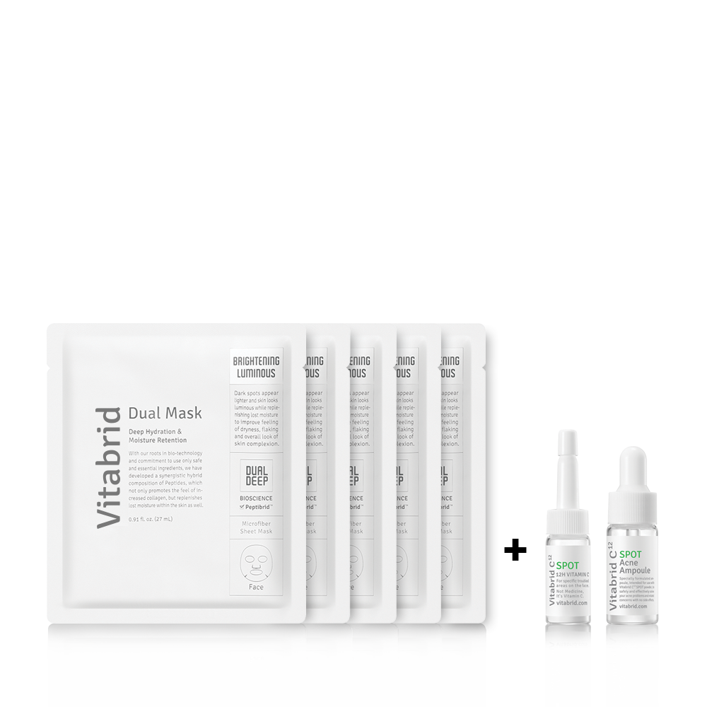 Goodbye Troubled Skin Set - Dual Mask-Brightening & Luminous (Box of 5 Pcs) + SPOT Acne Solution