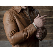 BROWN REAL LEATHER JACKET FOR MEN