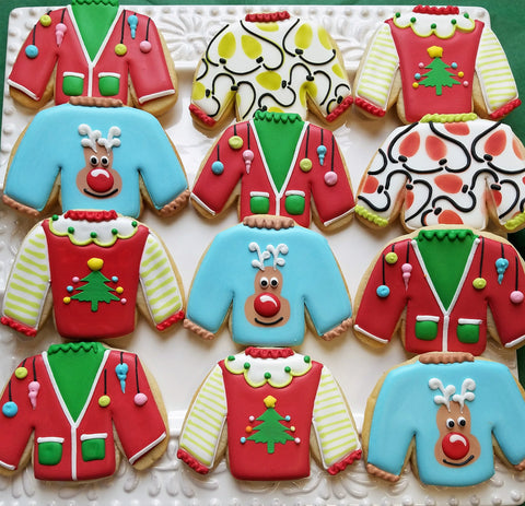Flour Box Bakery How To Decorate Four Ugly Sweater Cookies