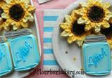 Mason Jar and Sunflower Cookie