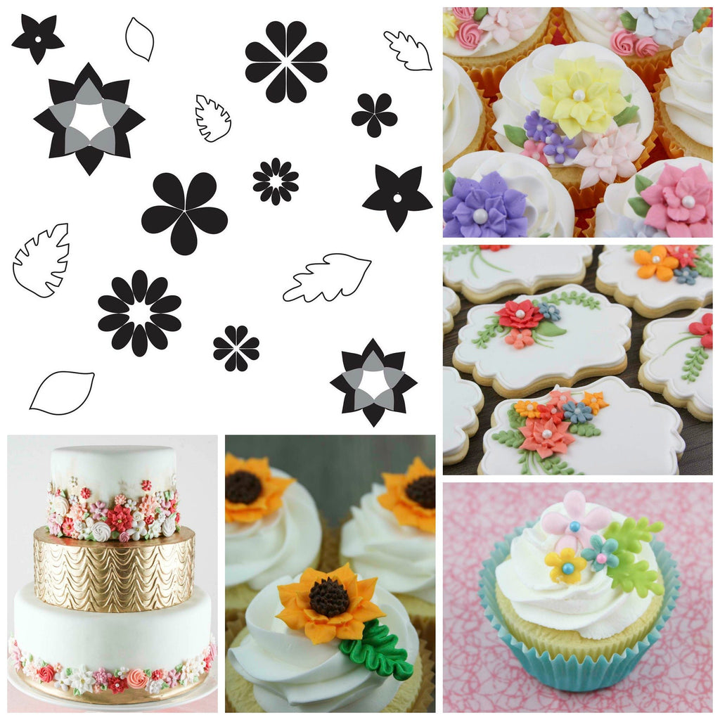 Flour Box Bakery — Flowers and Leaves Pattern Sheets for Royal Icing ...