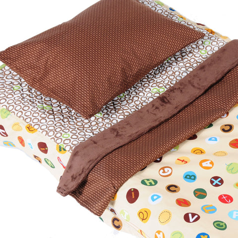 Tan Alphabet - Cot Bedding Kit