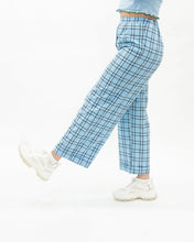 Load image into Gallery viewer, Relaxed Wide Leg Turn Up Blue Check Trousers