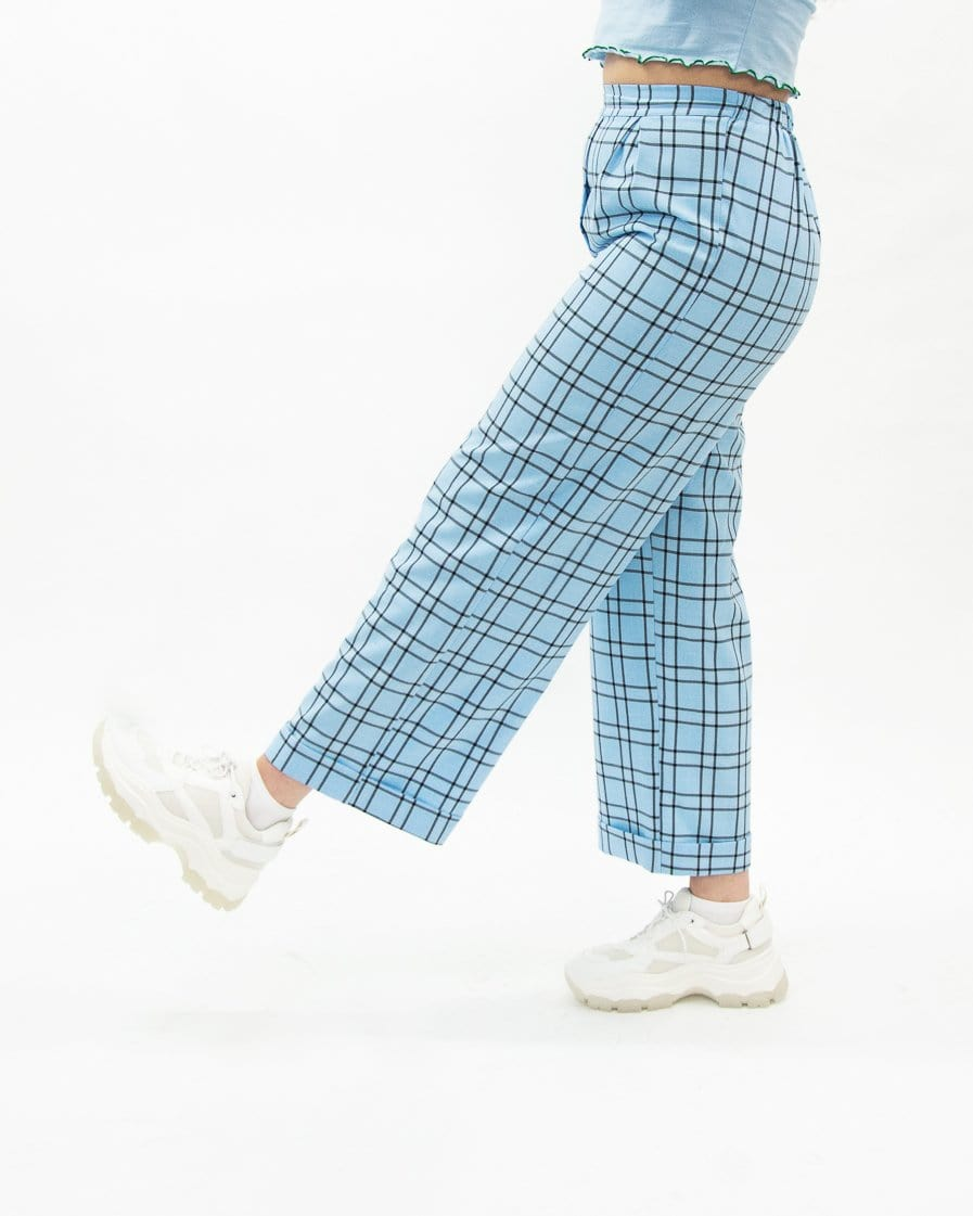Relaxed Wide Leg Turn Up Blue Check Trousers