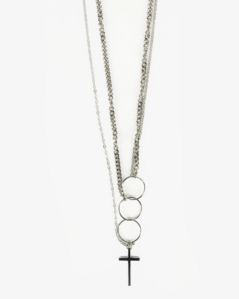 Cross & Rings Necklace Silver