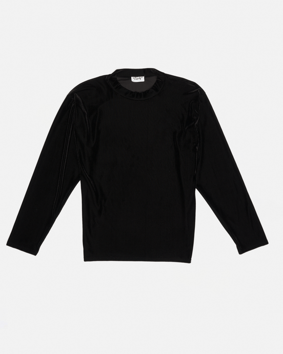 VELOUR MOCK NECK TOP