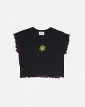 Load image into Gallery viewer, Crochet Patch & Lettuce Hem T-Shirt