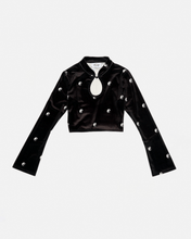 Load image into Gallery viewer, Ying Yang Print Velvet Cut Out Top