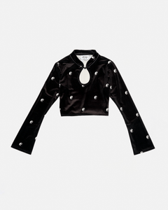 Ying Yang Print Velvet Cut Out Top