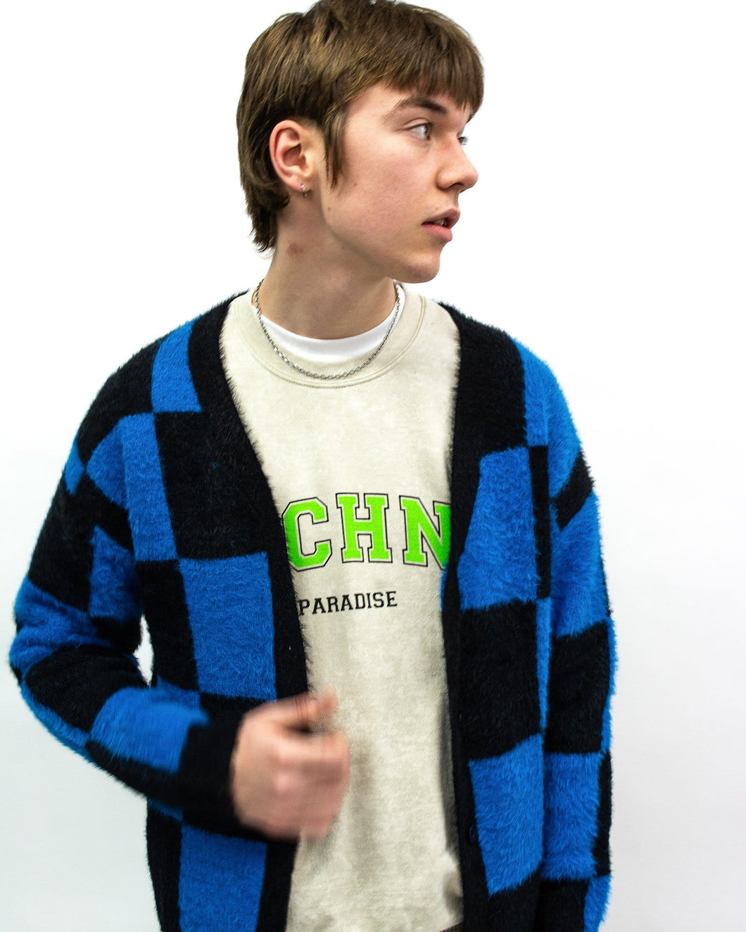 Knitted Blue Checker Board Cardigans