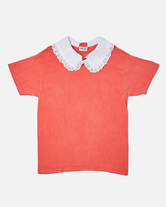 OVERDYED T-SHIRT WITH COLLAR